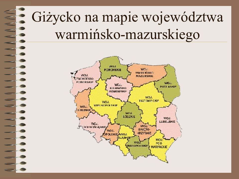 Giżycko na mapie województwa warmińsko-mazurskiego