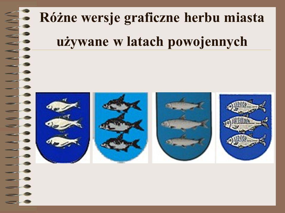 Różne wersje graficzne herbu miasta używane w latach powojennych