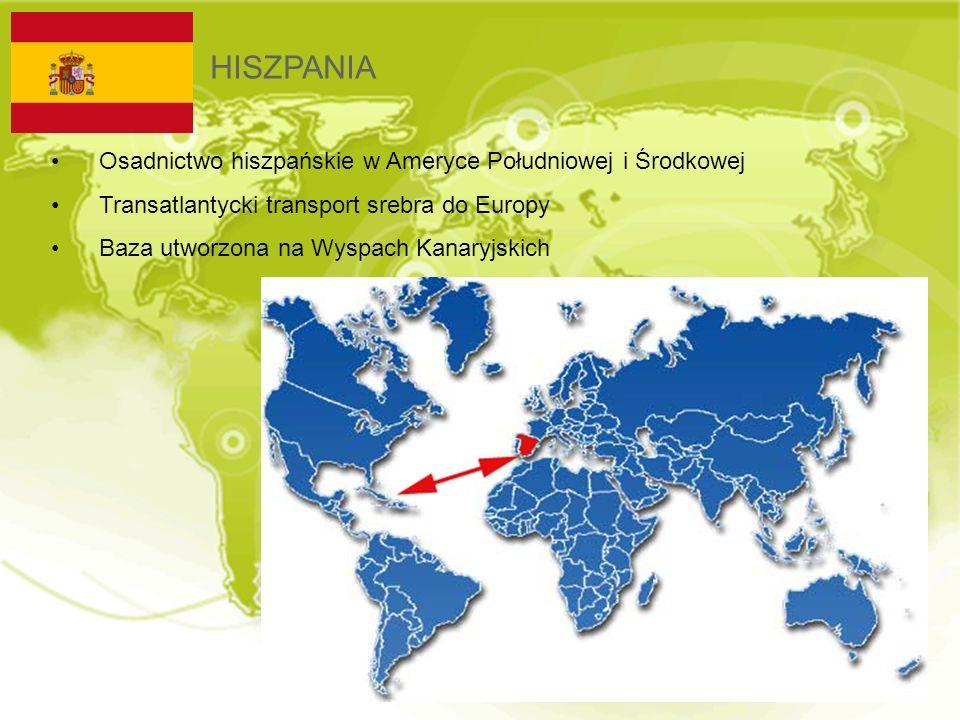 HISZPANIA Osadnictwo hiszpańskie w Ameryce Południowej i Środkowej Transatlantycki transport srebra do Europy Baza utworzona na Wyspach Kanaryjskich