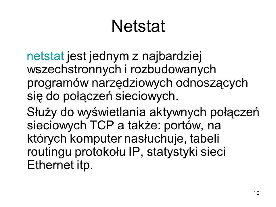 10 Netstat netstat jest jednym z najbardziej wszechstronnych i rozbudowanych programów narzędziowych odnoszących się do połączeń sieciowych. Służy do