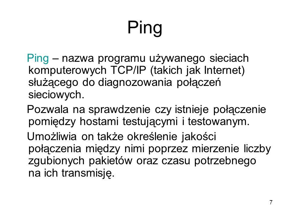 7 Ping Ping – nazwa programu używanego sieciach komputerowych TCP/IP (takich jak Internet) służącego do diagnozowania połączeń sieciowych. Pozwala na