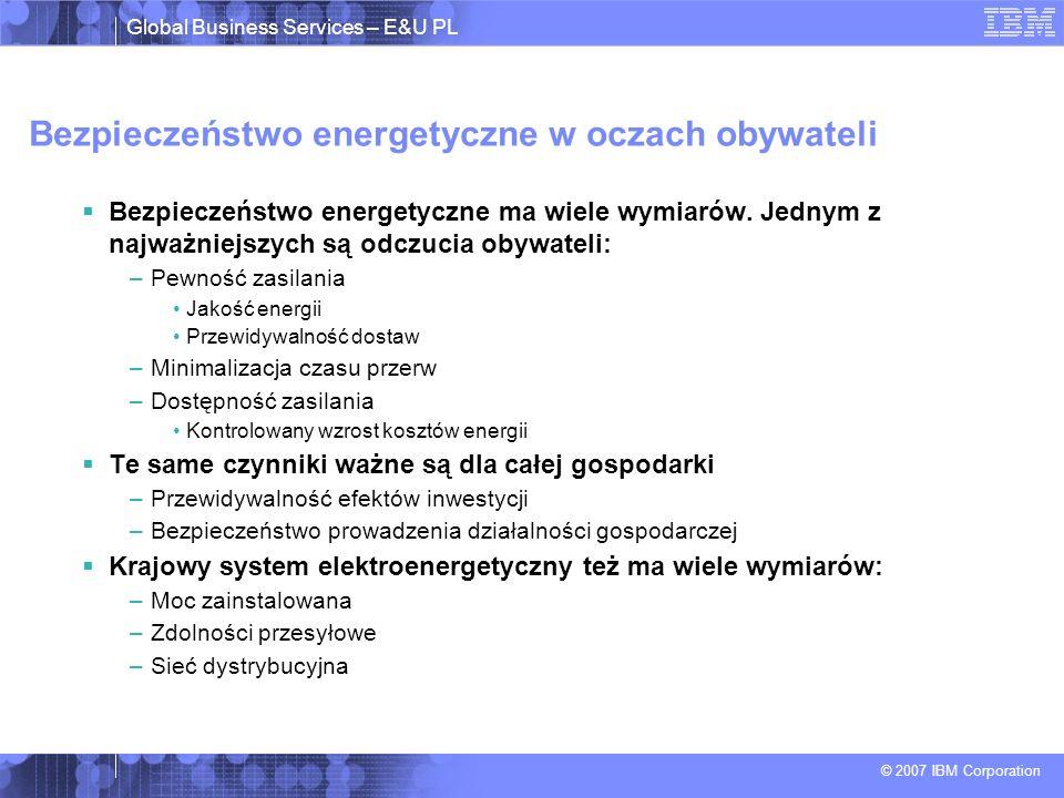 Global Business Services – E&U PL © 2007 IBM Corporation Z technologią IT Klient ma prawo dopasować własne zużycie do pojawiających się ograniczeń Umowa 3,3 kW Redukcja mocy 1,0 kW Redukcja umowy 2,3 kW Dzisiaj usługa (energia) jest binarna i jeżeli wystąpi blackout … Nie obejrzysz swojego ulubionego meczu piłkarskiego … Nie otworzysz drzwi do garażu … Ryby w lodówce przestaną ładnie pachnieć …