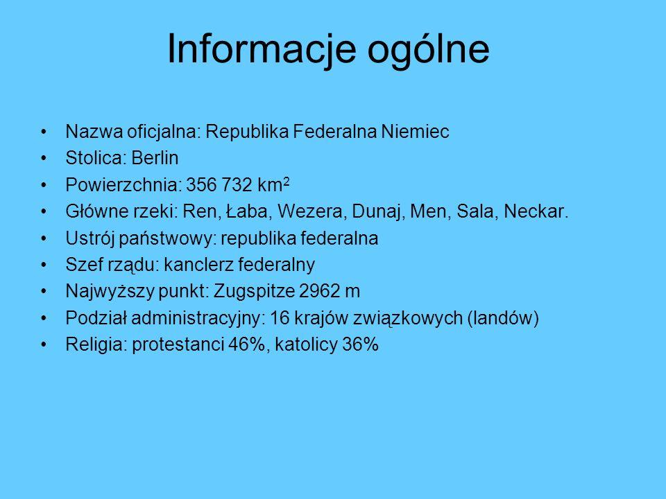 Informacje ogólne Nazwa oficjalna: Republika Federalna Niemiec Stolica: Berlin Powierzchnia: 356 732 km 2 Główne rzeki: Ren, Łaba, Wezera, Dunaj, Men,