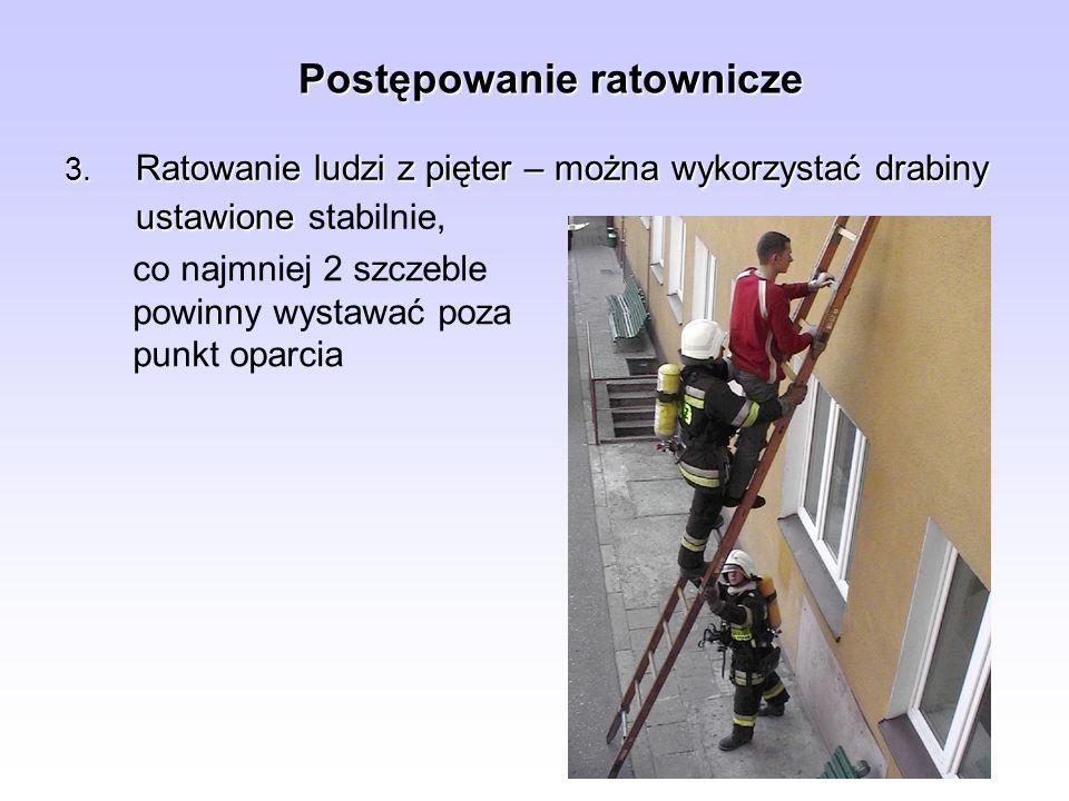 Postępowanie ratownicze 3. Ratowanie ludzi z pięter – można wykorzystać drabiny ustawione 3. Ratowanie ludzi z pięter – można wykorzystać drabiny usta