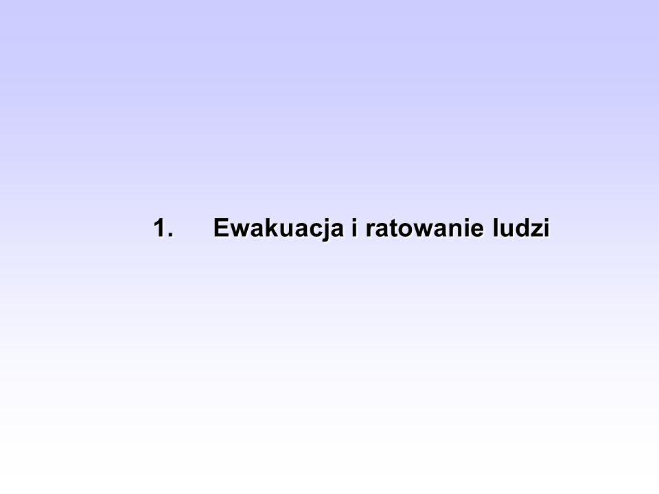 Postępowanie ratownicze 3.Ratowanie ludzi z pięter – można wykorzystać drabiny ustawione 3.
