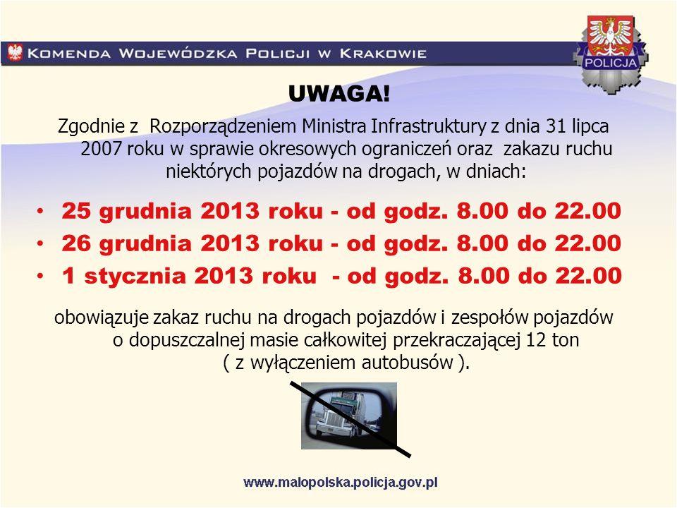 UWAGA! Zgodnie z Rozporządzeniem Ministra Infrastruktury z dnia 31 lipca 2007 roku w sprawie okresowych ograniczeń oraz zakazu ruchu niektórych pojazd