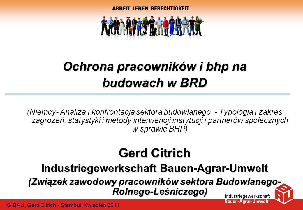 Ochrona pracowników i bhp na budowach w BRD (Niemcy- Analiza i konfrontacja sektora budowlanego - Typologia i zakres zagrożeń; statystyki i metody int