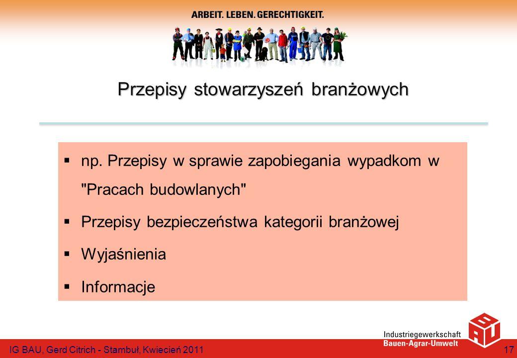 Przepisy stowarzyszeń branżowych np. Przepisy w sprawie zapobiegania wypadkom w