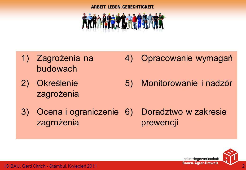 Zasada sekwencji Usuwanie zagrożenia Minimalizacja zagrożenia Zabezpieczenie techniczne i organizacyjne Środki ochrony osobistej IG BAU, Gerd Citrich - Stambuł, Kwiecień 201113