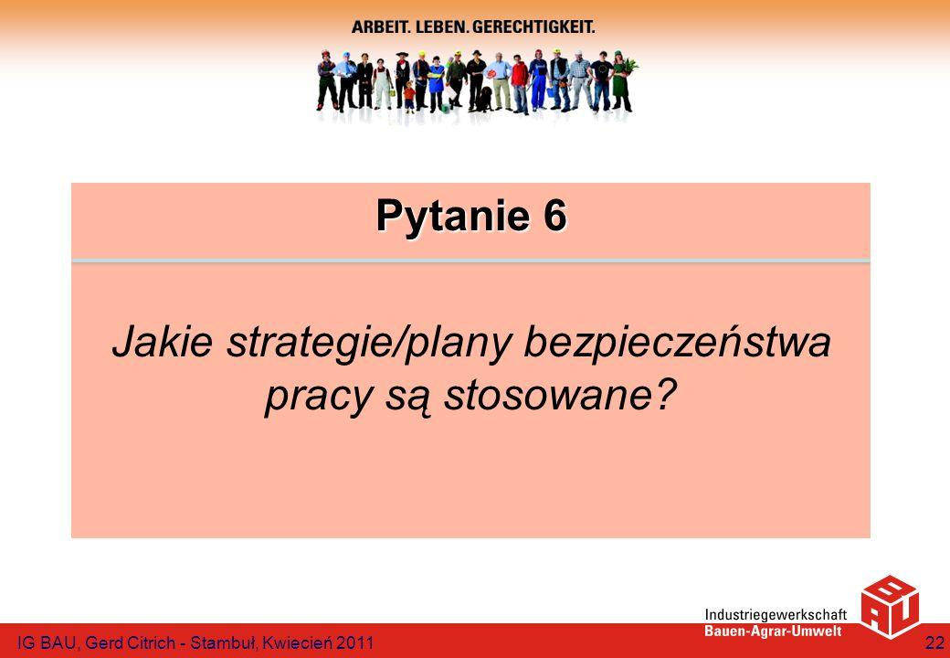 Pytanie 6 Jakie strategie/plany bezpieczeństwa pracy są stosowane? IG BAU, Gerd Citrich - Stambuł, Kwiecień 201122