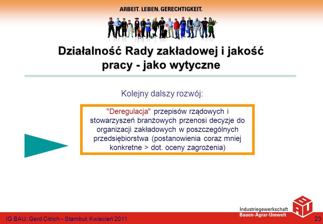 IG BAU, Gerd Citrich - Stambuł, Kwiecień 201123 Działalność Rady zakładowej i jakość pracy - jako wytyczne