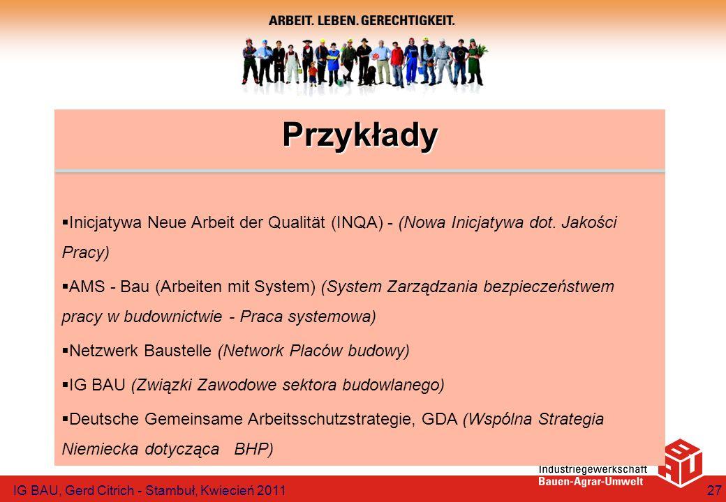 Przykłady Inicjatywa Neue Arbeit der Qualität (INQA) - (Nowa Inicjatywa dot. Jakości Pracy) AMS - Bau (Arbeiten mit System) (System Zarządzania bezpie