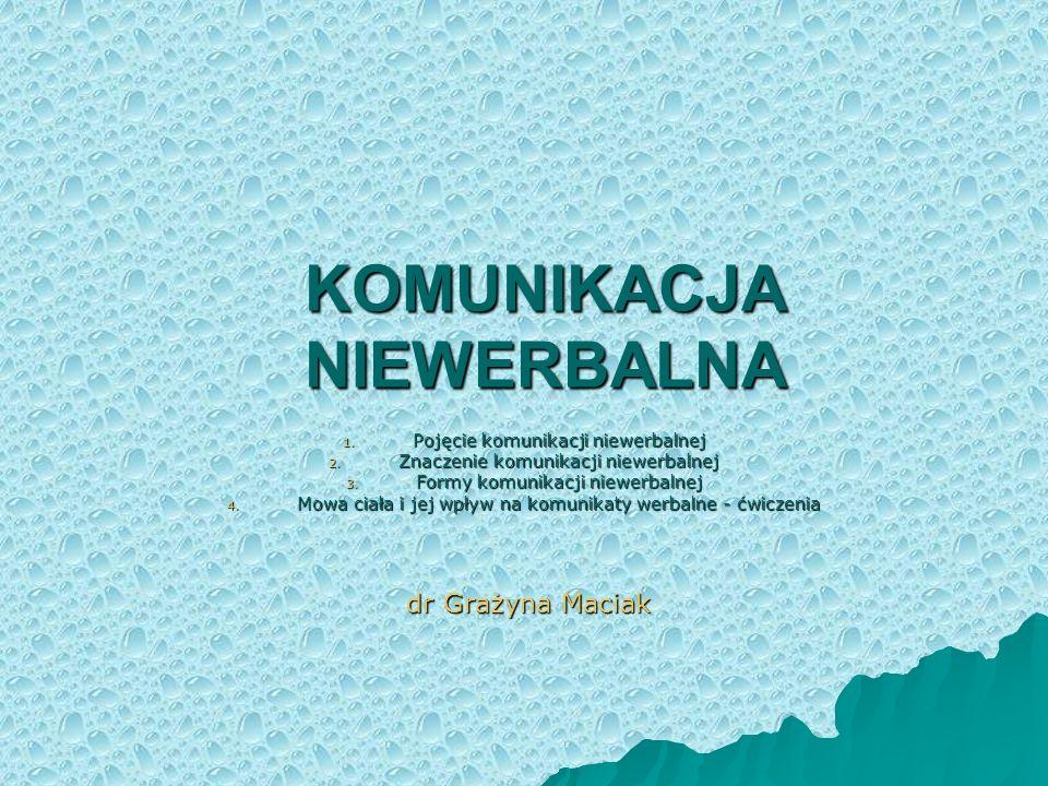 Pojęcie komunikacji niewerbalnej Komunikacja niewerbalna odnosi się do wszelkich form komunikacji pozajęzykowej, w której znaczenia, przekazywane są, za pomocą różnych znaków, spoza repertuaru odnoszącego się do strukturalnych cech języków naturalnych.