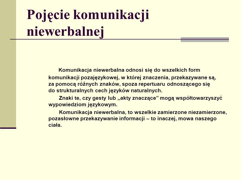 Pojęcie komunikacji niewerbalnej Komunikacja niewerbalna odnosi się do wszelkich form komunikacji pozajęzykowej, w której znaczenia, przekazywane są,