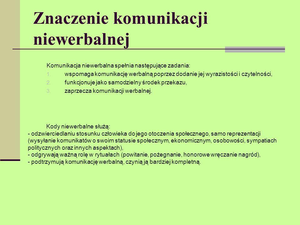 Znaczenie komunikacji niewerbalnej Komunikacja niewerbalna spełnia następujące zadania: 1. wspomaga komunikację werbalną poprzez dodanie jej wyrazisto