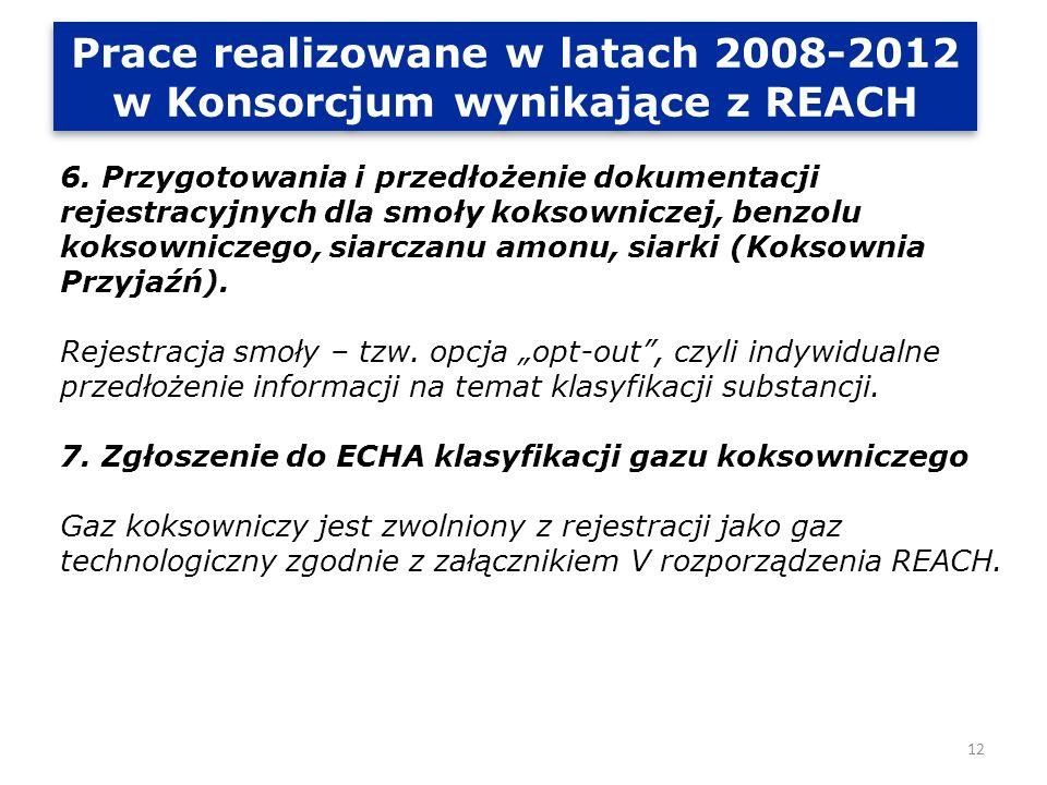 Prace realizowane w latach 2008-2012 w Konsorcjum wynikające z REACH 8.