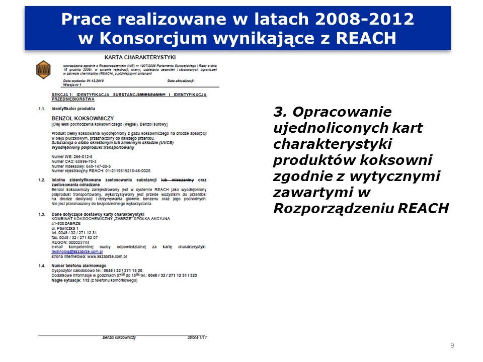 Prace realizowane w latach 2008-2012 w Konsorcjum wynikające z REACH 4.