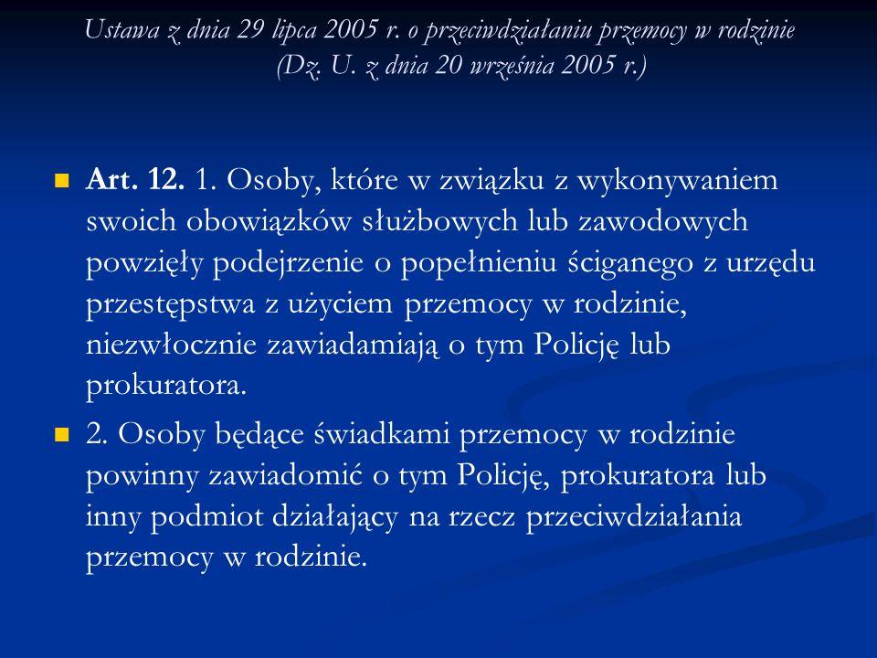 Ustawa z dnia 29 lipca 2005 r. o przeciwdziałaniu przemocy w rodzinie (Dz. U. z dnia 20 września 2005 r.) Art. 12. 1. Osoby, które w związku z wykonyw