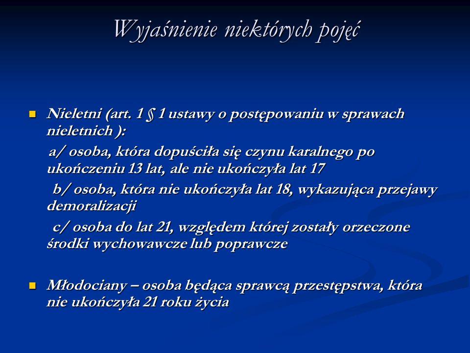 Wyjaśnienie niektórych pojęć Nieletni (art. 1 § 1 ustawy o postępowaniu w sprawach nieletnich ): Nieletni (art. 1 § 1 ustawy o postępowaniu w sprawach
