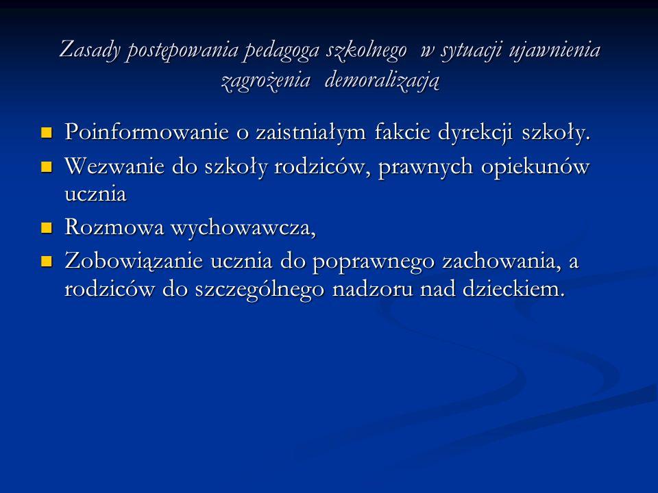 Zasady postępowania pedagoga szkolnego w sytuacji ujawnienia zagrożenia demoralizacją Poinformowanie o zaistniałym fakcie dyrekcji szkoły. Poinformowa