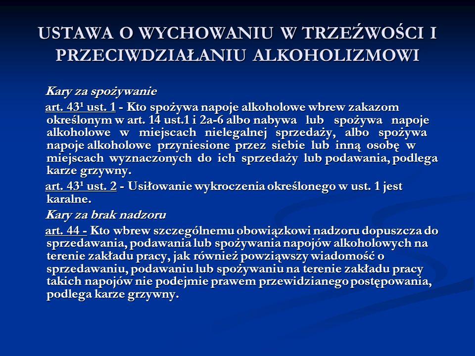USTAWA O WYCHOWANIU W TRZEŹWOŚCI I PRZECIWDZIAŁANIU ALKOHOLIZMOWI Kary za spożywanie Kary za spożywanie art. 43¹ ust. 1 - Kto spożywa napoje alkoholow