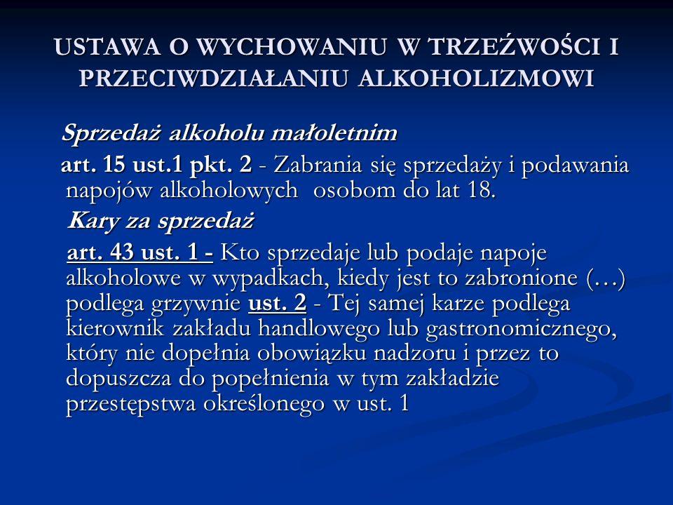 USTAWA O WYCHOWANIU W TRZEŹWOŚCI I PRZECIWDZIAŁANIU ALKOHOLIZMOWI Sprzedaż alkoholu małoletnim Sprzedaż alkoholu małoletnim art. 15 ust.1 pkt. 2 - Zab