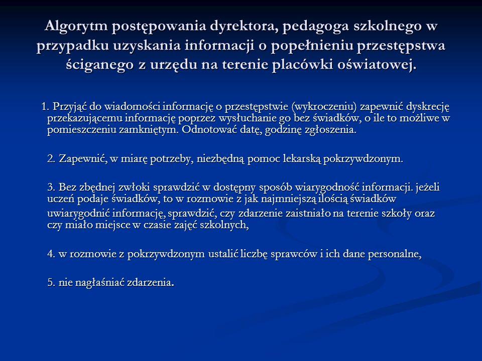 Algorytm postępowania dyrektora, pedagoga szkolnego w przypadku uzyskania informacji o popełnieniu przestępstwa ściganego z urzędu na terenie placówki