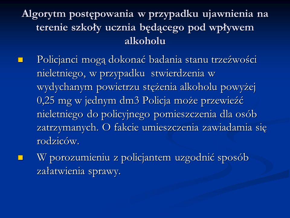 Algorytm postępowania w przypadku ujawnienia na terenie szkoły ucznia będącego pod wpływem alkoholu Policjanci mogą dokonać badania stanu trzeźwości n