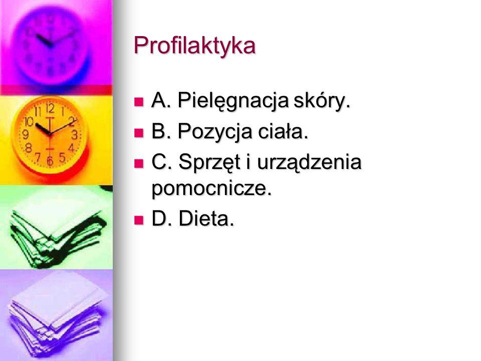 Profilaktyka A. Pielęgnacja skóry. A. Pielęgnacja skóry. B. Pozycja ciała. B. Pozycja ciała. C. Sprzęt i urządzenia pomocnicze. C. Sprzęt i urządzenia