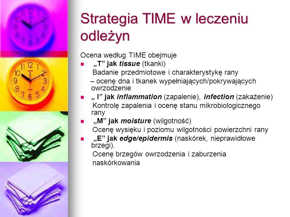 Strategia TIME w leczeniu odleżyn Ocena według TIME obejmuje T jak tissue (tkanki) Badanie przedmiotowe i charakterystykę rany – ocenę dna i tkanek wy