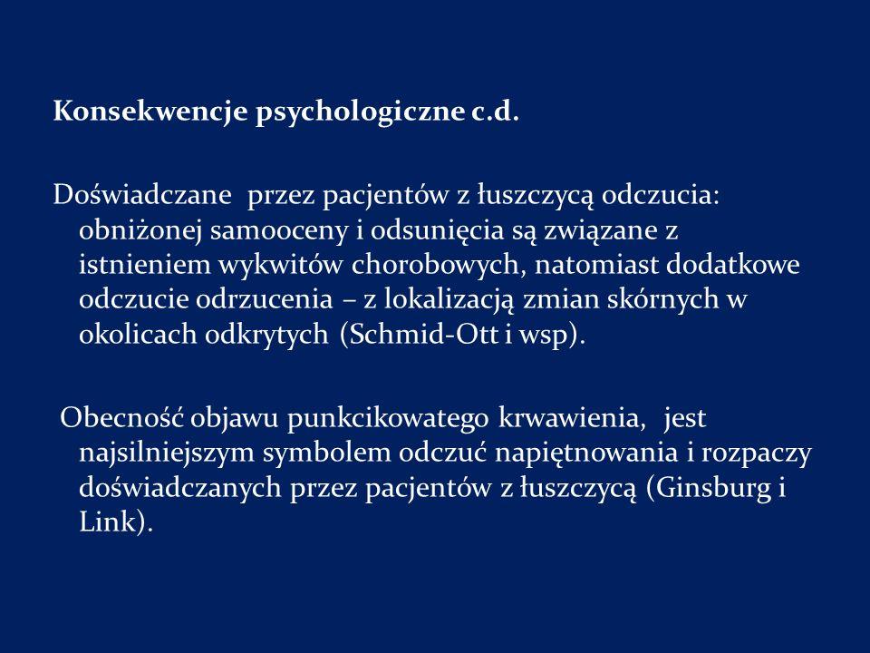 Konsekwencje psychologiczne c.d. Doświadczane przez pacjentów z łuszczycą odczucia: obniżonej samooceny i odsunięcia są związane z istnieniem wykwitów