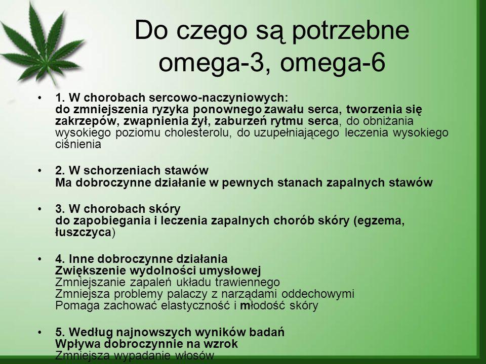 Do czego są potrzebne omega-3, omega-6 1. W chorobach sercowo-naczyniowych: do zmniejszenia ryzyka ponownego zawału serca, tworzenia się zakrzepów, zw
