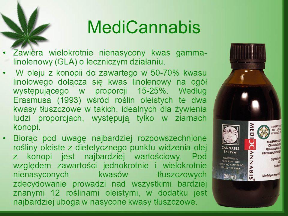 MediCannabis Zawiera wielokrotnie nienasycony kwas gamma- linolenowy (GLA) o leczniczym działaniu. W oleju z konopii do zawartego w 50-70% kwasu linol