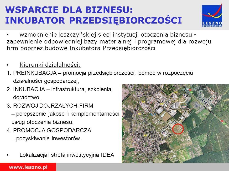 WSPARCIE DLA BIZNESU: INKUBATOR PRZEDSIĘBIORCZOŚCI wzmocnienie leszczyńskiej sieci instytucji otoczenia biznesu - zapewnienie odpowiedniej bazy materi