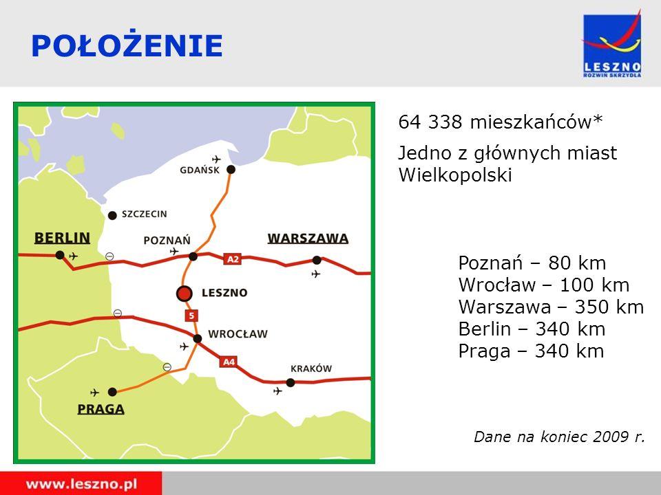 POŁOŻENIE 64 338 mieszkańców* Jedno z głównych miast Wielkopolski Poznań – 80 km Wrocław – 100 km Warszawa – 350 km Berlin – 340 km Praga – 340 km Dan