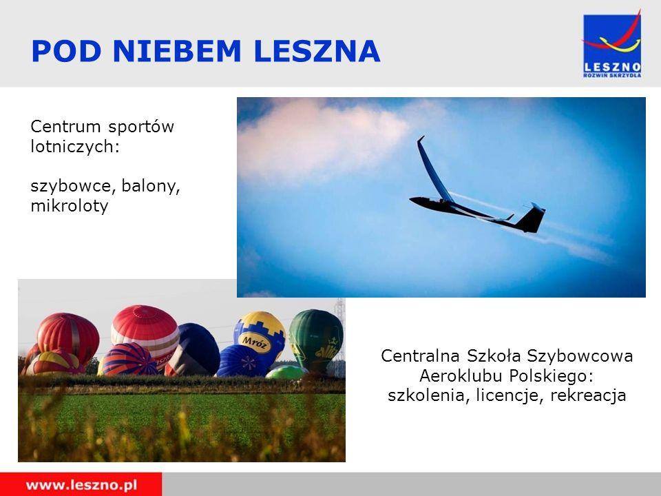 POD NIEBEM LESZNA Centralna Szkoła Szybowcowa Aeroklubu Polskiego: szkolenia, licencje, rekreacja Centrum sportów lotniczych: szybowce, balony, mikrol