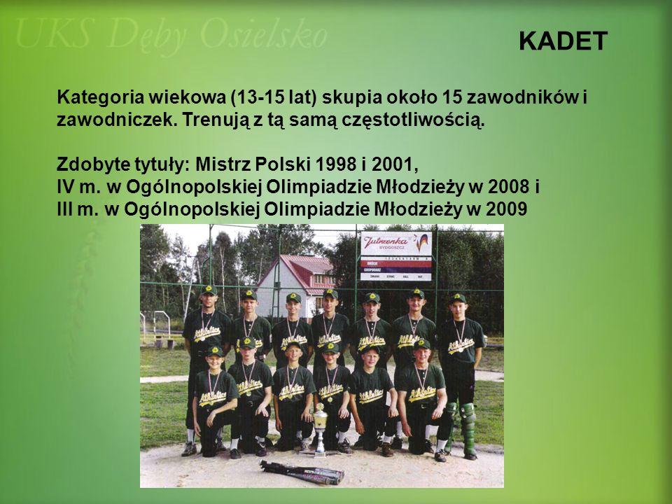 KADET Kategoria wiekowa (13-15 lat) skupia około 15 zawodników i zawodniczek. Trenują z tą samą częstotliwością. Zdobyte tytuły: Mistrz Polski 1998 i