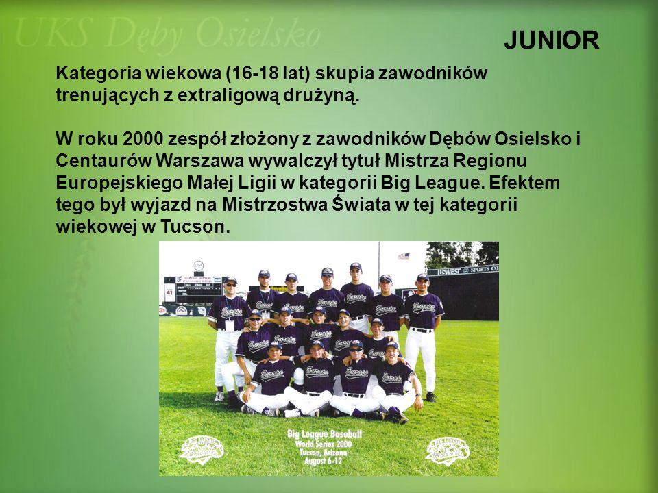 JUNIOR Kategoria wiekowa (16-18 lat) skupia zawodników trenujących z extraligową drużyną. W roku 2000 zespół złożony z zawodników Dębów Osielsko i Cen
