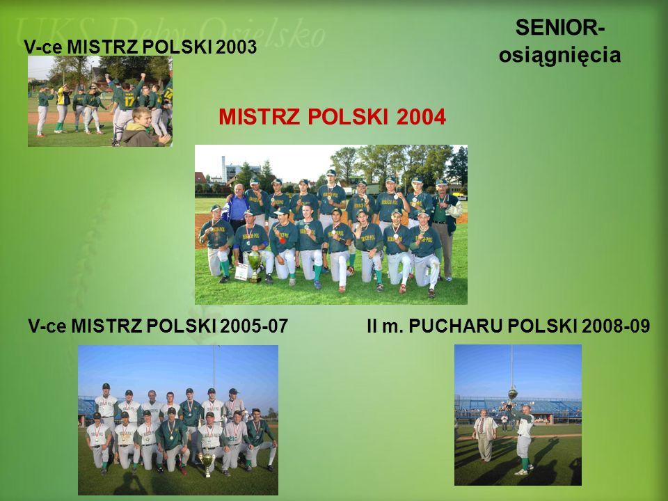SENIOR- osiągnięcia MISTRZ POLSKI 2004 V-ce MISTRZ POLSKI 2003 II m. PUCHARU POLSKI 2008-09V-ce MISTRZ POLSKI 2005-07