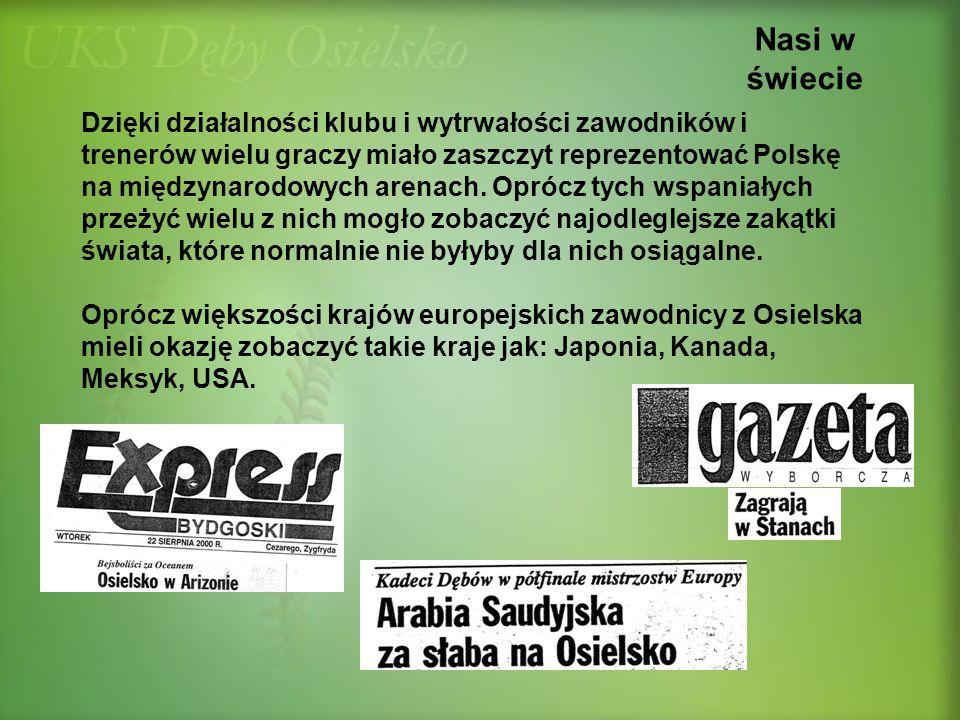 Nasi w świecie Dzięki działalności klubu i wytrwałości zawodników i trenerów wielu graczy miało zaszczyt reprezentować Polskę na międzynarodowych aren