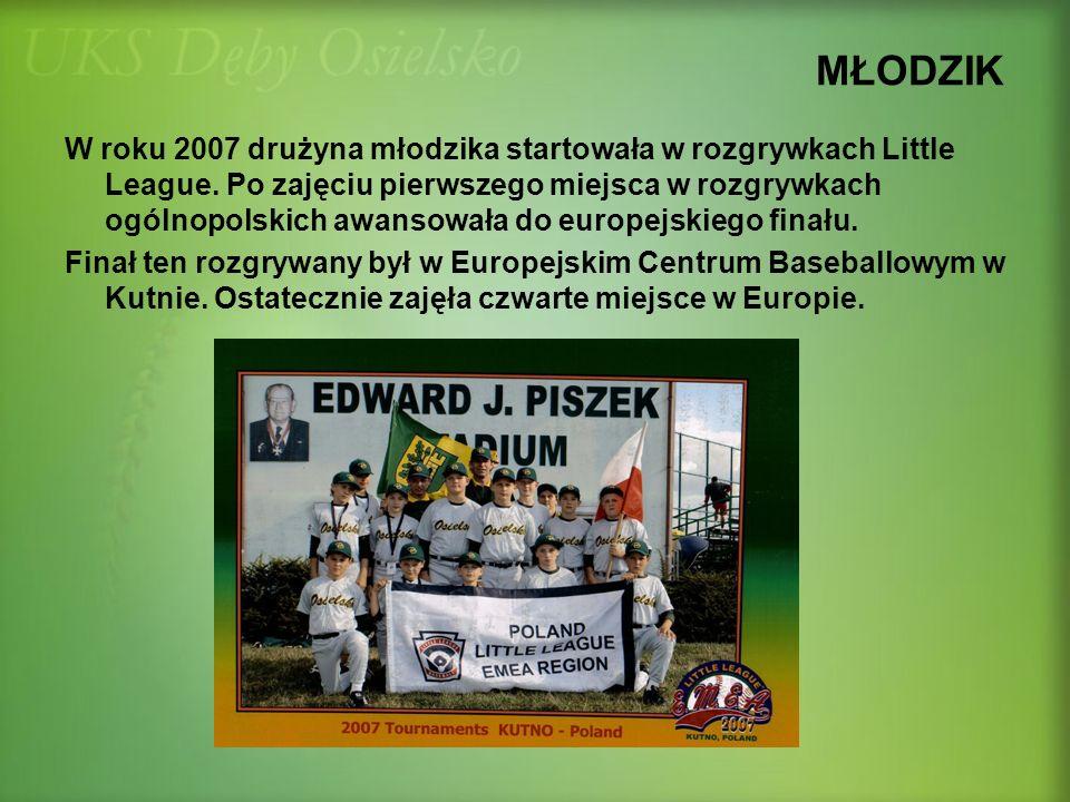 MŁODZIK W roku 2007 drużyna młodzika startowała w rozgrywkach Little League. Po zajęciu pierwszego miejsca w rozgrywkach ogólnopolskich awansowała do