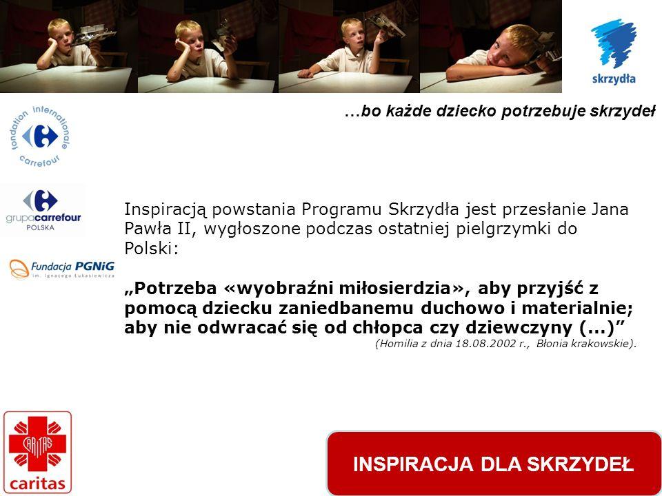 …bo każde dziecko potrzebuje skrzydeł Inspiracją powstania Programu Skrzydła jest przesłanie Jana Pawła II, wygłoszone podczas ostatniej pielgrzymki do Polski: Potrzeba «wyobraźni miłosierdzia», aby przyjść z pomocą dziecku zaniedbanemu duchowo i materialnie; aby nie odwracać się od chłopca czy dziewczyny (...) (Homilia z dnia 18.08.2002 r., Błonia krakowskie).