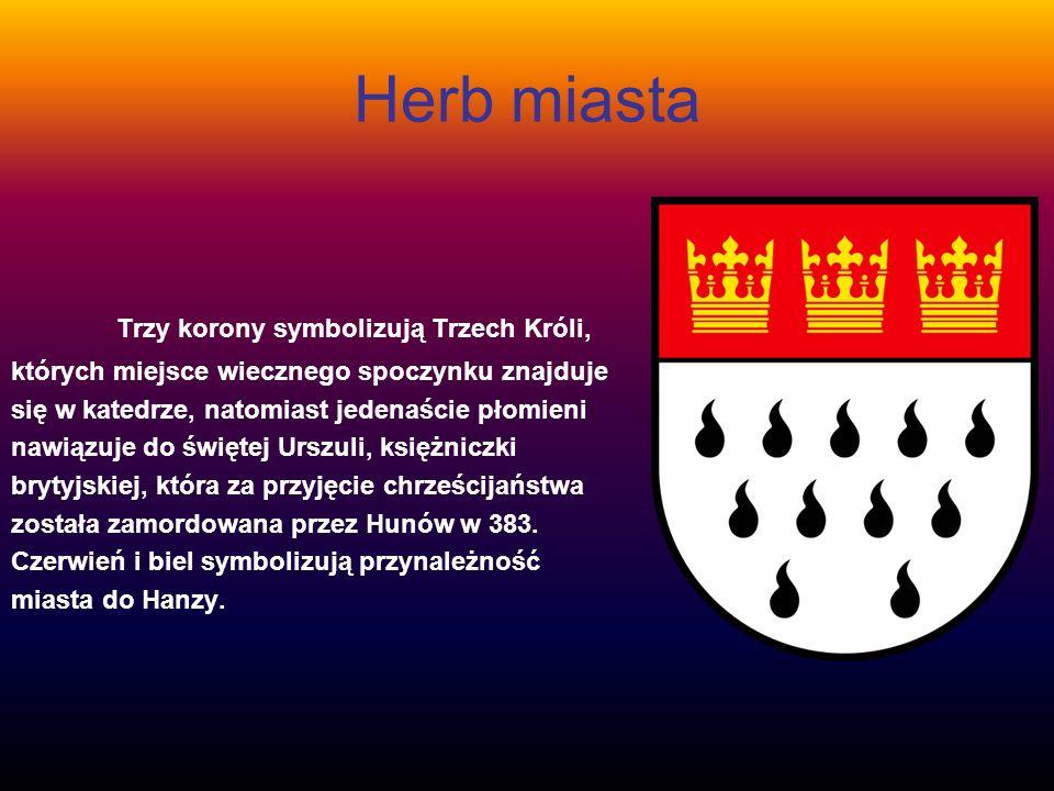 Herb miasta Trzy korony symbolizują Trzech Króli, których miejsce wiecznego spoczynku znajduje się w katedrze, natomiast jedenaście płomieni nawiązuje
