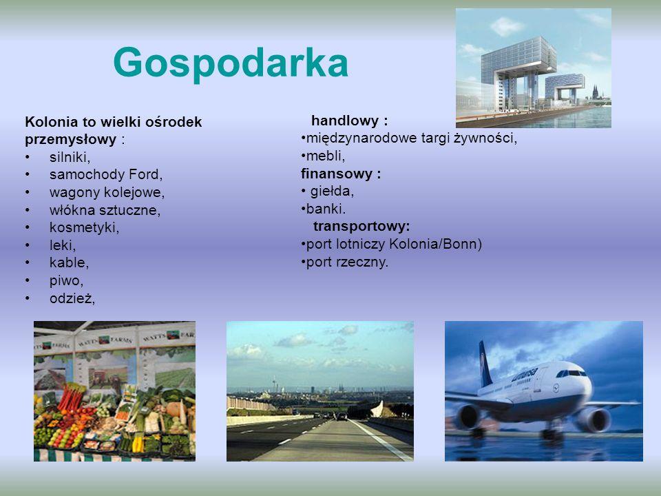 Gospodarka Kolonia to wielki ośrodek przemysłowy : silniki, samochody Ford, wagony kolejowe, włókna sztuczne, kosmetyki, leki, kable, piwo, odzież, ha