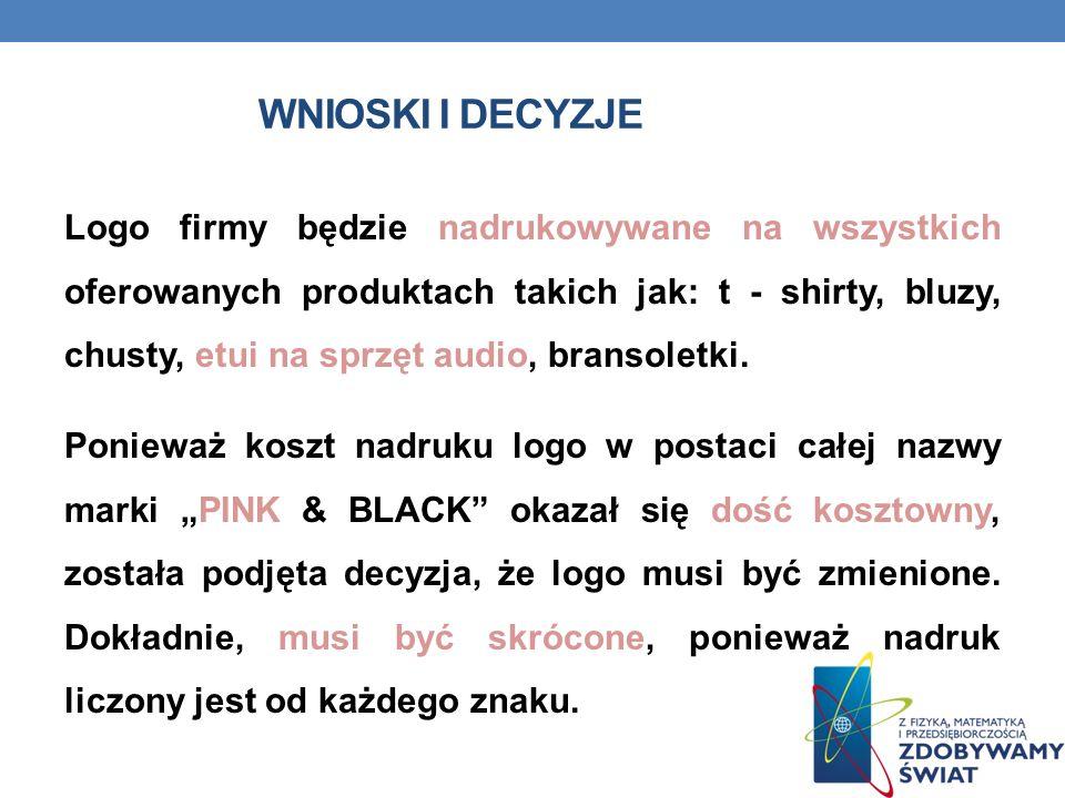 WNIOSKI I DECYZJE Logo firmy będzie nadrukowywane na wszystkich oferowanych produktach takich jak: t - shirty, bluzy, chusty, etui na sprzęt audio, bransoletki.