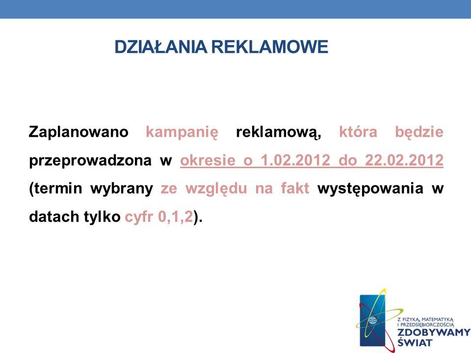 DZIAŁANIA REKLAMOWE Zaplanowano kampanię reklamową, która będzie przeprowadzona w okresie o 1.02.2012 do 22.02.2012 (termin wybrany ze względu na fakt występowania w datach tylko cyfr 0,1,2).