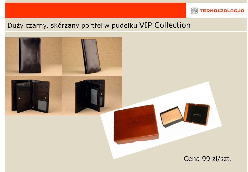 Czarny, skórzany portfel z logo w pudełku VIP Collection Cena 55 zł/szt.