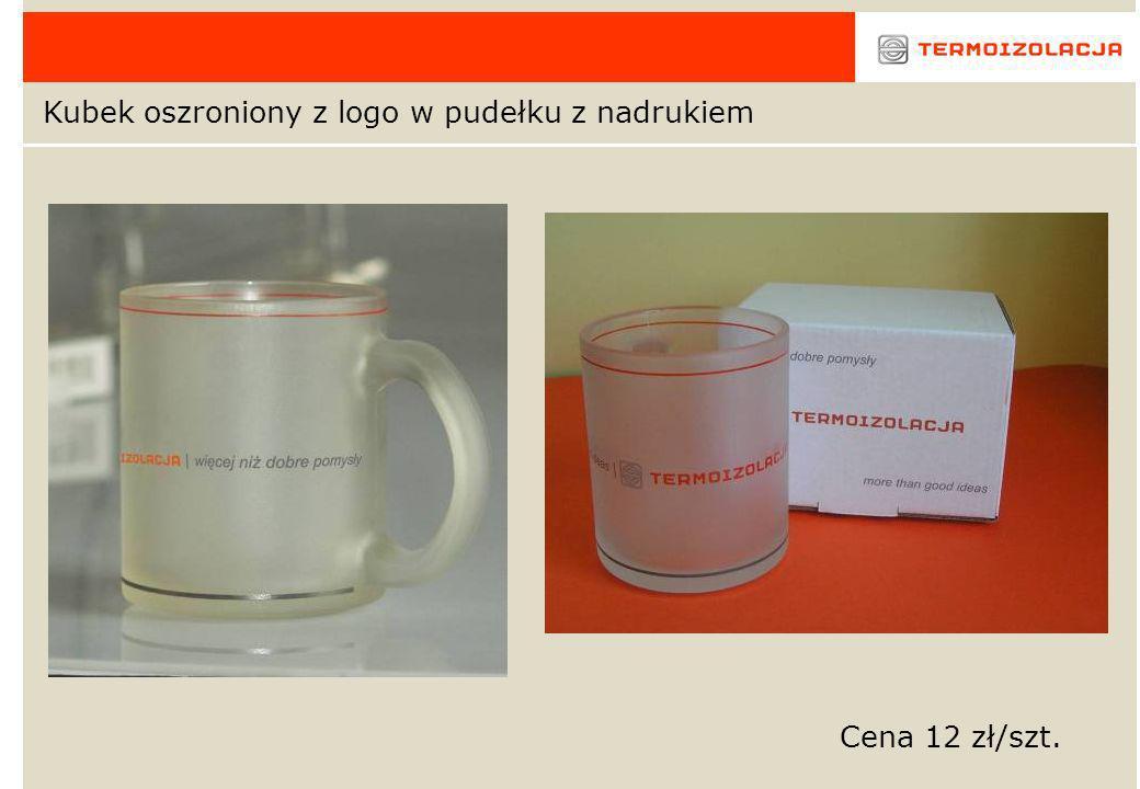 Kubek oszroniony z logo w pudełku z nadrukiem Cena 12 zł/szt.