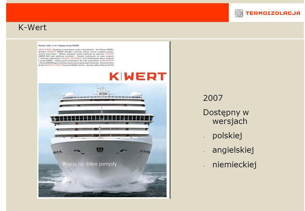 K-Wert 2007 Dostępny w wersjach - polskiej - angielskiej - niemieckiej
