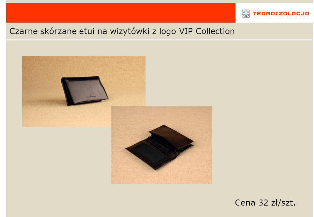 Czarne skórzane etui na wizytówki z logo VIP Collection Cena 32 zł/szt.
